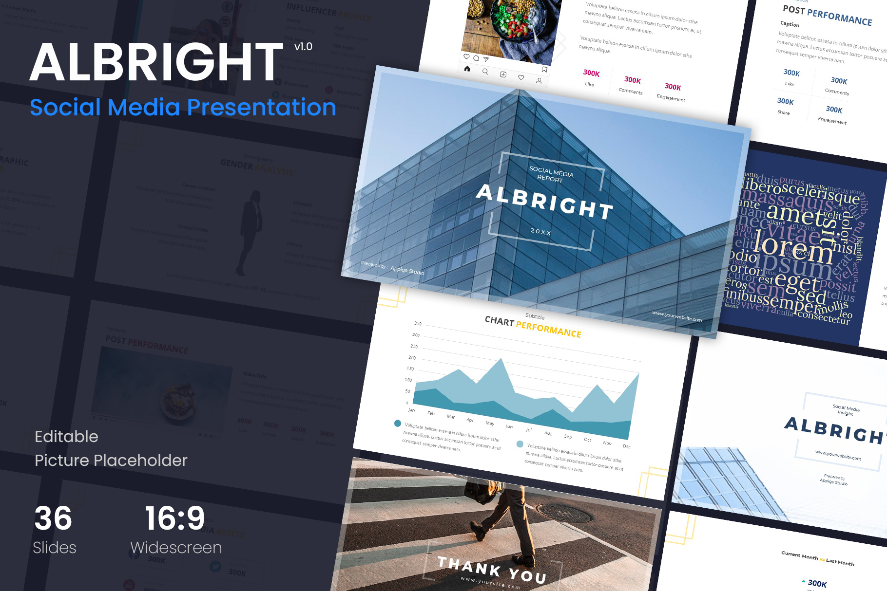 Albright – Social Media Analysis Powerpoint Template