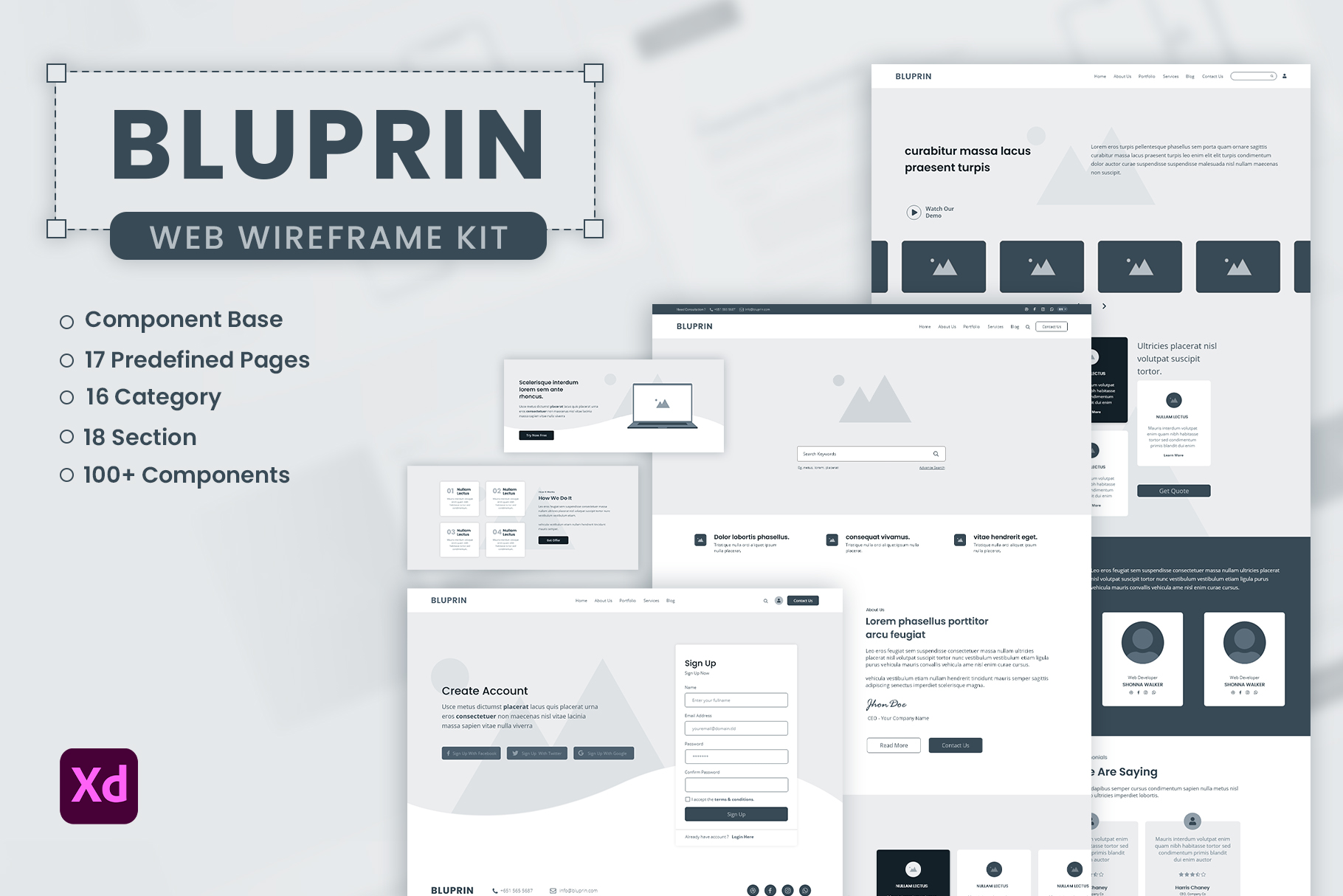 Bluprin – Adobe XD Wireframe Kit For Web
