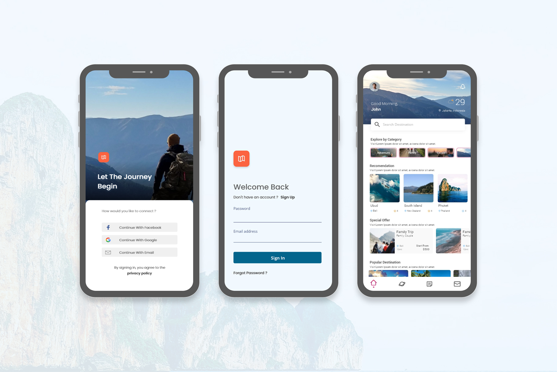 Travel UI Homescreen Adobe XD - Free Ios Android
