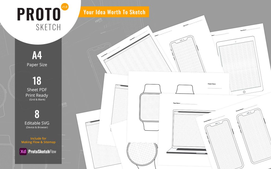 ProtoSketch – Printable Prototype Wireframe Design